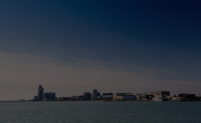 Corpus Christi skyline form the water